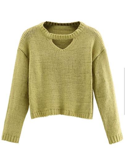 Mustard Cut Out Crop Sweater