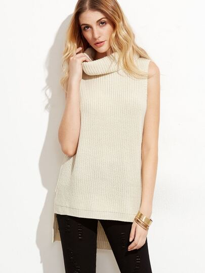 Beige Turtleneck Slit Side High Low Sweater