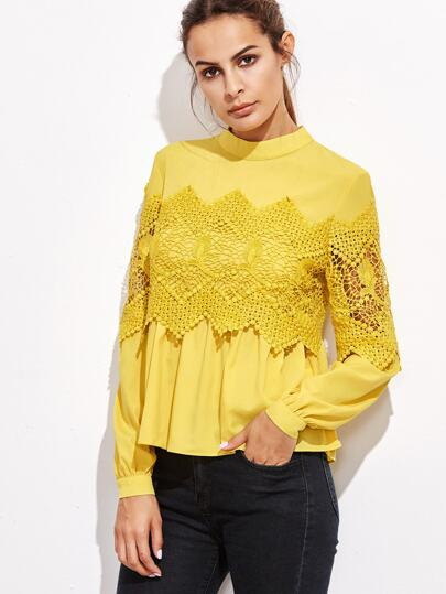Yellow Embroidered Lace Applique Babydoll Blouse