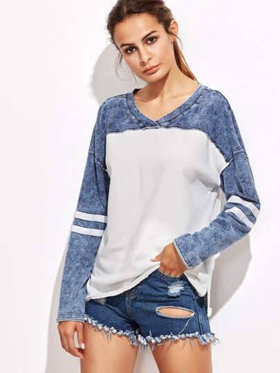 Contrast Denim Look Striped Sleeve T-shirt