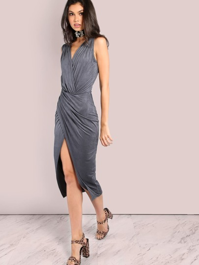 Low V Back Suede Wrap Over Dress GREY
