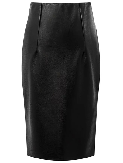 Black Slit High Waist PU Bodycon Skirt