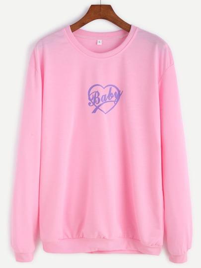Pink Letter Print Sweatshirt