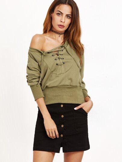 Army Green Eyelet Lace Up Sweatshirt