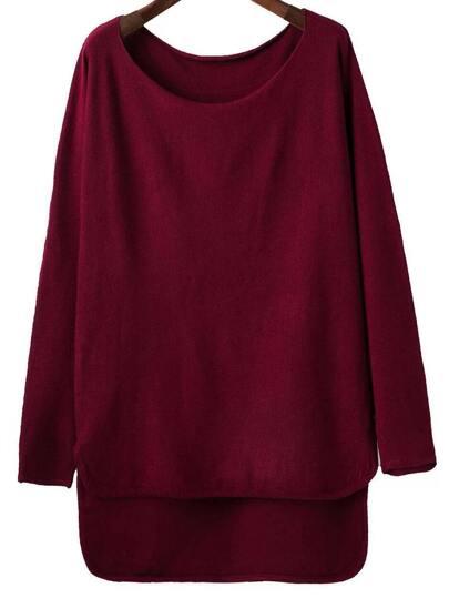 Burgundy Scoop Neck Dip Hem Knitwear
