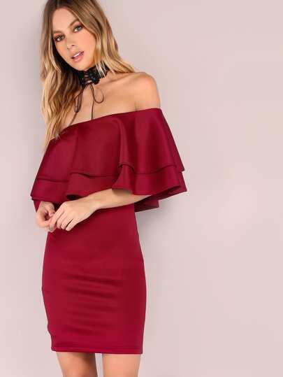 stufig Rüschen Kleid Schulterfrei -burgund rot