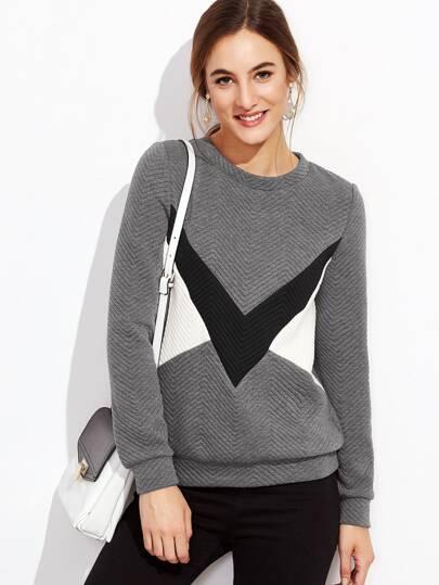 Sweat-shirt motif chevron couleur bloc