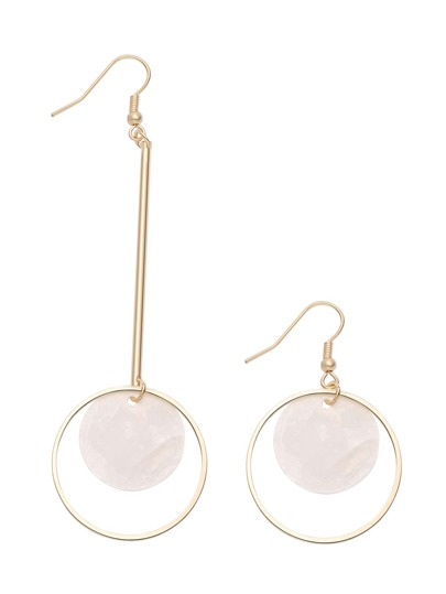 Gold Asymmetric Hoop And Faux Gem Drop Earrings