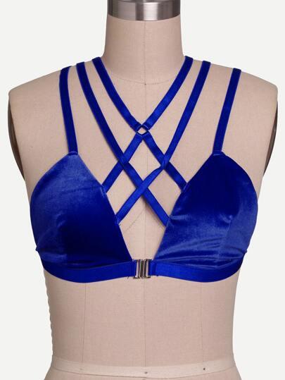 Royal Blue Front Closure Lattice Velvet Bralet