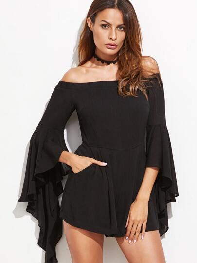Black Off The Shoulder Ruffle Sleeve Romper