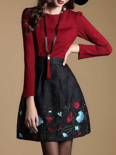 Vestido combinado de jacquar con bordado - rojo
