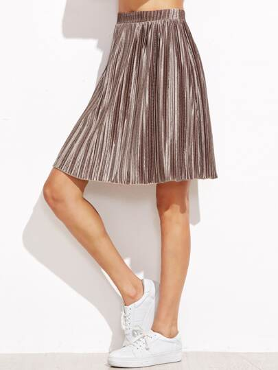 Metallic Brown Pleated Skirt
