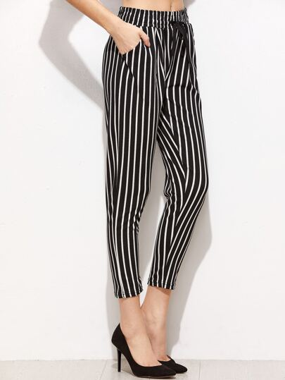 Contrast Vertical Striped Drawstring Pants