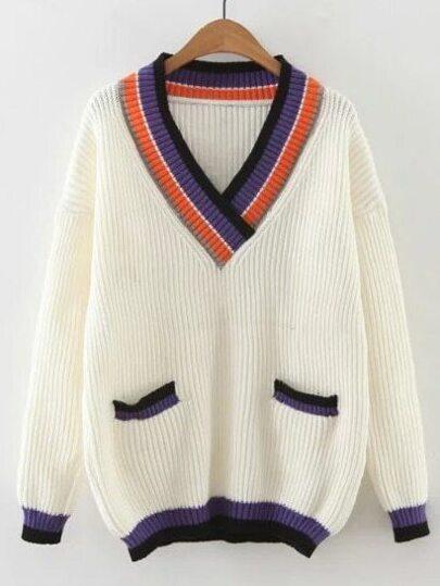 Contrast Striped Trim V Neck Drop Shoulder Sweater