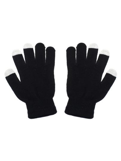 Gants tricoté à chaque doigt - noir et blanc