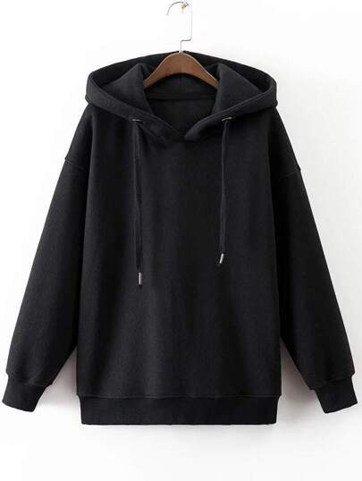 Black Drawstring Side Zipper Hooded Sweatshirt