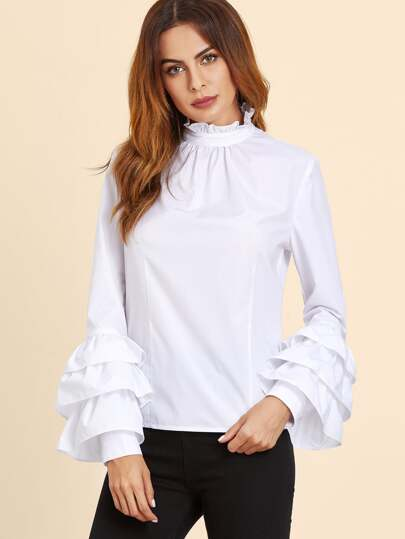 White Ruffle Collar Layered Sleeve Top