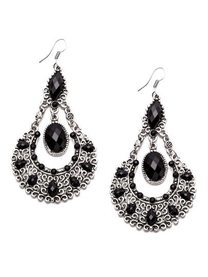 Black Gemstone Hollow Out Vintage Drop Earrings