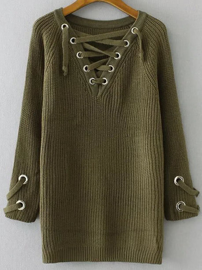 Army Green Eyelet Lace Up V Neck Sweater