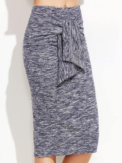 Navy Marled Knit Knotted Front Midi Skirt