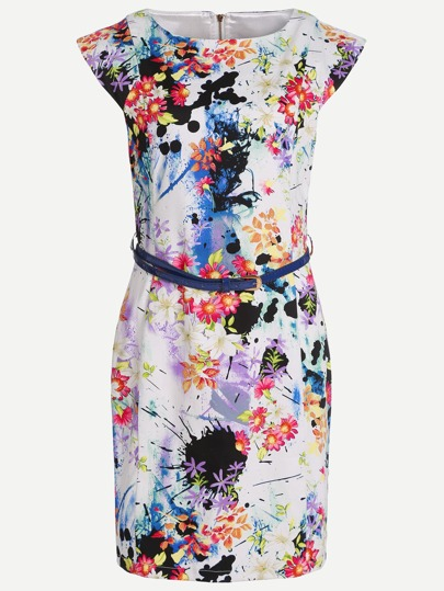 Floral Print Sheath Dress With Belt