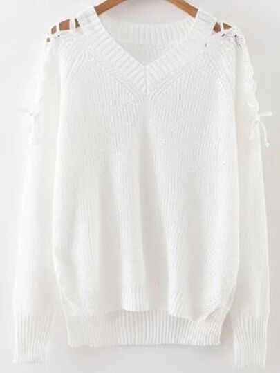 White V Neck Lace Up Sleeve High Low Sweater
