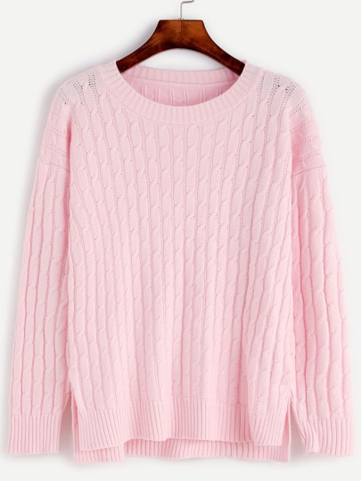 Pink Slit Side High Low Cable Knit Sweater