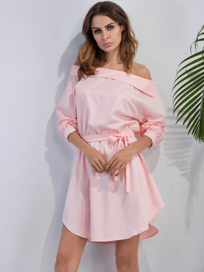 Pink Off The Shoulder Self Tie Dress