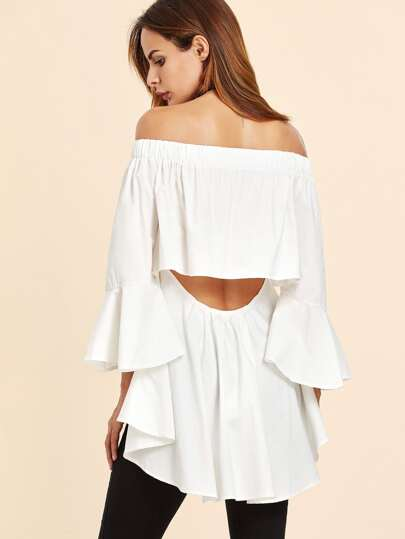 White Off The Shoulder Open Back High Low Top
