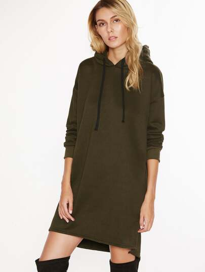 Hooded Drawstring Split Side Sweatshirt Dress