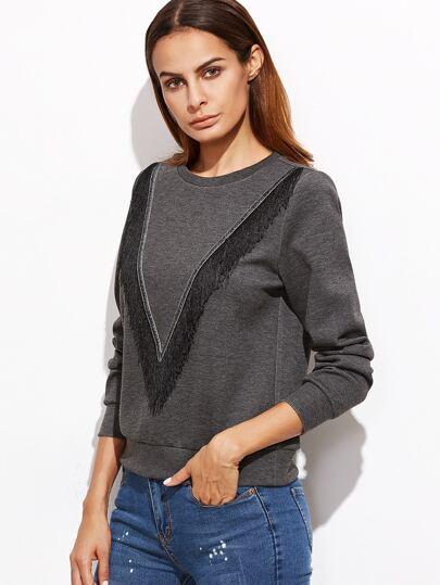 Heather Grey Fringe Trim Sweatshirt