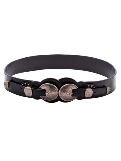 Black Faux Leather Double Carved Buckle Belt