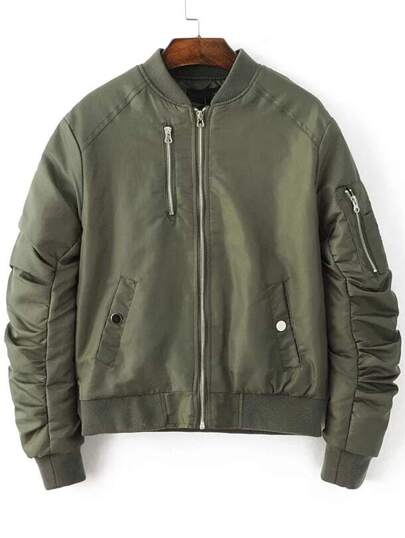 Army Green Zipper Up Quilted Flight Jacket