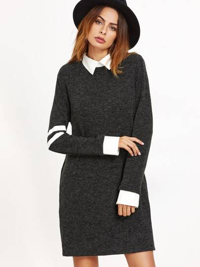 Black Contrast Collar And Cuff Striped Sleeve Dress