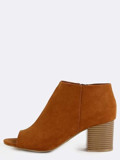 Stacked Block Heel Boots COGNAC