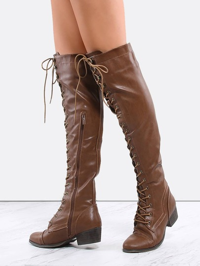 Lace Up Combat Knee Boots TAN