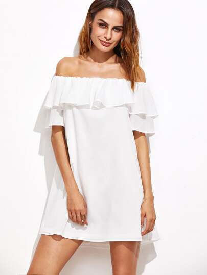 Flounce Layered Neckline Beach Dress
