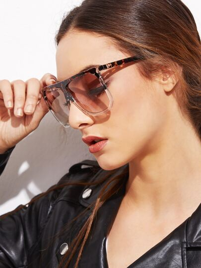 Brown Leopard Print Large Lens Sunglasses