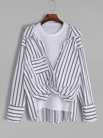 White Striped High Low 2 In 1 Blouse