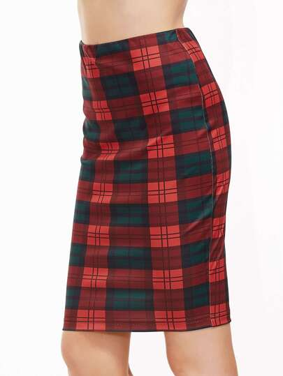 Red And Green Plaid Slit Back Pencil Skirt