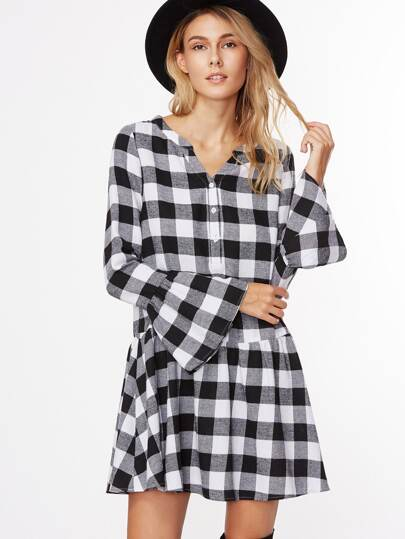 Black And White Checkerboard Bell Cuff Drop Waist Dress