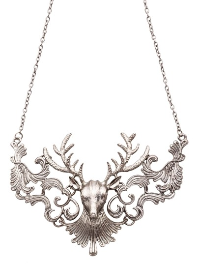 Antique Silver Deer Head Statement Necklace