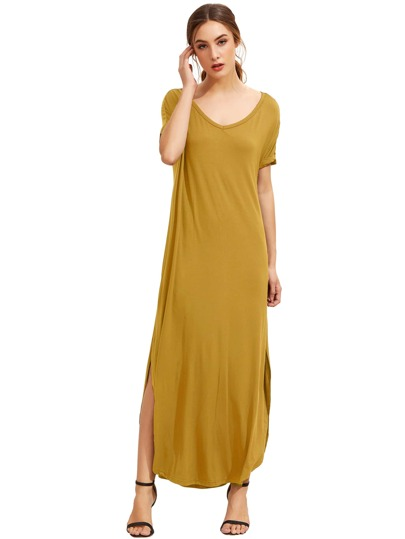 Yellow Short Sleeve Pocket Split Side Dress