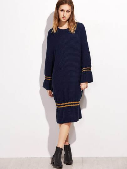 Navy Striped Trim Drop Shoulder Seam Sweater Dress