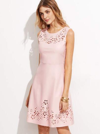 Pink Faux Leather Laser Cutout High Waist Dress