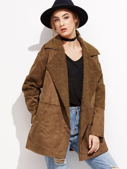 Brown Faux Shearling Lined Suede Coat