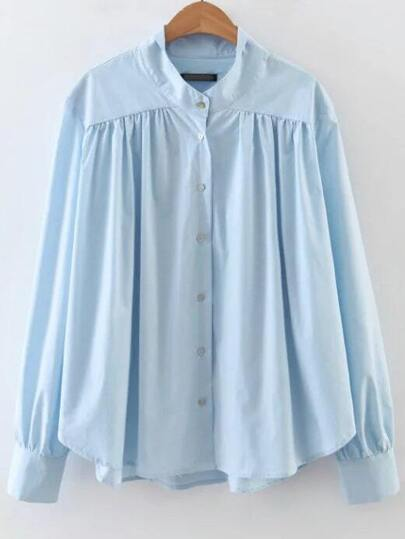 Blue Button Up Curved Hem Blouse