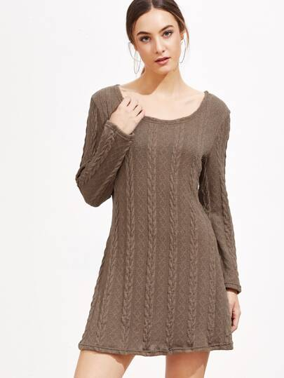 Khaki Cable Knit Sweater Dress