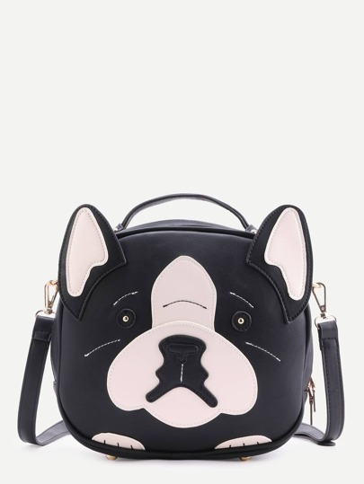 Black Faux Leather Dog Design Crossbody Bag