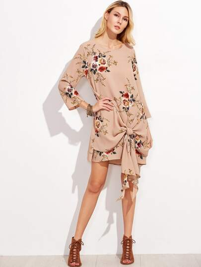 Rose Print Tie Front Dress